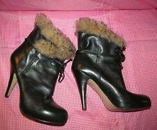 NINE WEST Butter SOFT Black LEATHER faux FUR CUFFS Ankle Boots Women's 6 1/2 M