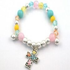 Childrens Beaded Stretch Bracelet W Multi-Color Cross Charm