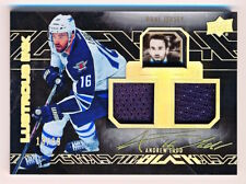 2015-16 UD Black Andrew Ladd Lustrous Ink Dual Jersey On Card Auto (18/99)