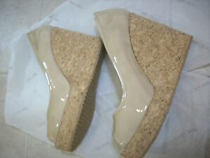JIMMY CHOO PAPINA Wedges Nude 41 Open Toes Patent 10.5  Leather Platform 11 New