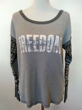 We The Free Gray Womens Freedom Thermal Sweater Sleeves Top Size Large