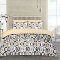 Twin Pack Duvet Cover Sets In Ochre & Grey Single Bed (2 Sets) Polycotton Retro