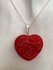 Large Red Carved Cinnabar Heart Reversable Pendant Sterling Silver fittings