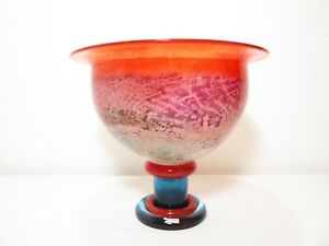 VTG Kosta Boda KJELL ENGMAN CANCAN FOOTED PEDESTAL ART GLASS BOWL Compote Vase