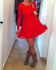 Damen Kleid Rot Spitze S-M 36-38 Kurz Liniert Rückenfrei Urlaub Kurz Mini