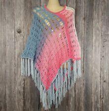 Women's Mandala Poncho Sweater Top Boho Hippie Soft Hand Crochet Fringed