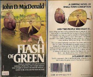 A Flash of Green by John D MacDonald 1962 Paperback Novel Political Treachery