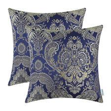 2Pcs Navy Blue Cushion Covers Pillows Shells Cases Vintage Damask Floral 45x45cm