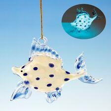 GLASS GLOW IN THE DARK TROPICAL FISH COASTAL NAUTICAL CHRISTMAS TREE ORNAMENT