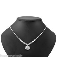SHOP Silver Plated Hollow Peach Heart Pendant Link Chain Necklace Jewelry 49cm