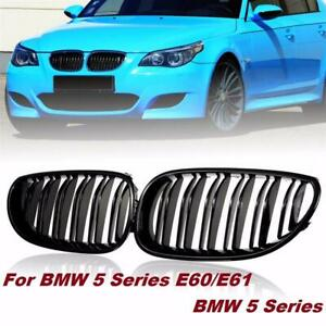 2x Gloss Black Front Hood Kidney Grille Grill For BMW E60 E61 5 Series M5 03-10