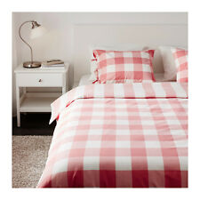 Ikea Emmie Ruta Queen/Full Bed Duvet Cover Pink White Check