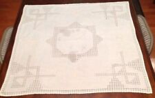 """White Embroidered Table Cloth Doily Linen 32"""" X 33"""" Preowned Stained"""