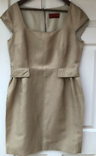 CAROLINA HERRERA LINEN/SILK BLEND KNEE LENGTH SHIFT DRESS - UK SIZE 16