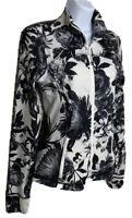 Lululemon Jacket Womens 6 Floral Black White Zip Front Athleisure Yoga Stretch