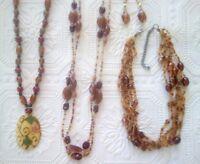 Brown & beige caramel color glass beaded necklaces, vintage pendant, earrings