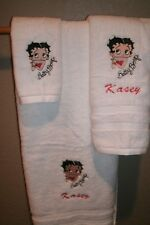 Betty Boop Face Personalized 3 Piece Bath Towel Set Your Color Choice