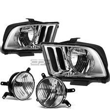 FOR 05-09 MUSTANG CHROME CLEAR HEADLIGHT+TURN SIGNAL LAMP+OE BUMPER FOG LIGHT