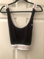 Champion Cross Back Womens Sports Bra Black With White Accents Size Large