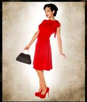 FOLTER Red Bridget Bombshell Pin-Up Retro Knit Dress