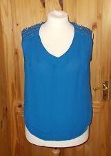 MARINA KANEVA cobalt electric blue chiffon bead tunic vest camisole top BNWT 16