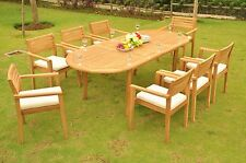 "9 PC TEAK OUTDOOR DINING SET 94"" OVAL EXTENSION TABLE + 8 MONTA STACKING CHAIRS"