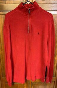 Polo Ralph Lauren Men Large L 1/4 Zip Pullover Sweater SweatShirt Red Cotton