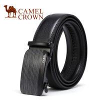 Crown Mens Genuine Leather Belts Rachet Belt Automatic Buckle Waist Strap Black