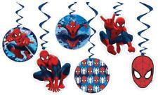 SPIDERMAN BIRTHDAY PARTY HANGING SWIRL DECORATION CEILING SUPER HERO BLUE RED X6