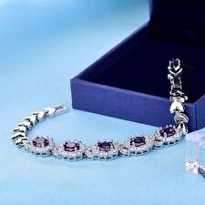 Lady Silver Gold Filled Oval Purple Swarovski Crystal Chain Bracelets Jewellery