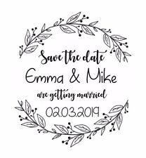 "WEDDING STAMP, PERSONALISED BESPOKE INITIALS NAME & DATE 2"" or 50mm"