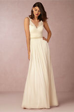 NEW ANTHROPOLOGIE BHLDN $250 IVORY FLEUR DRESS GOWN BY HITHERTO SZ 0