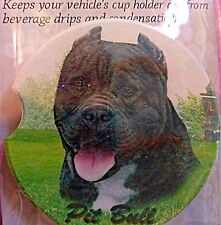 E&S Pets Absorbent Car Coaster Dog Breed Stoneware Pit Bull Black Pittie Puppy