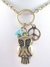New Retro Vintage Style Owl Peace Sign Necklace With Turquiose Bead #N2049