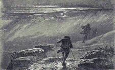 Antique woodcut print :Thunderstorm Brocken Harz  / holzstich gewitter 1865