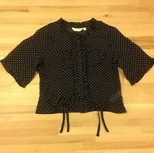Debenhams 'Tigerlily' Black With White Spots Party/Special Occasion Top 7-8 Year