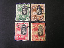 GAMBIA, SCOTT # 102-104(3)+108. 1/2p+1p+11/2p+4p. VALUES 1922-27  KGV  ISS USED