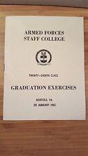 VTG Armed Forces Staff College 28th Class GRADUATION EXERCISES Program 1961 VA