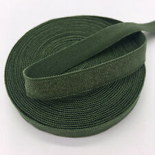 """5yds 3/8"""" Solid Fold Over Elastics Spandex Satin Band Lace Sewing Trim ArmyGreen"""