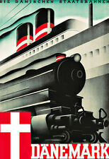 Art Ad  Dänemark Denmark Ship Train Travel  Poster Print