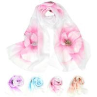 160cmx50cm Fashion Elegant Flower Pattern Style Wrap Lady Shawl Chiffon Scarf