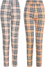 Leggings Womens Ladies Girls Check Jeggings Trousers Stretch Comfort Fit Size