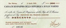 San Marino Italy mini-assegno 200 lire (1976) P-S102  UNC