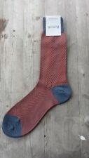Pantherella Merino Wool Herringbone Men's Socks Rust / Denim Blue Size M – New