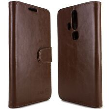 for ZTE Axon Pro Wallet Case - Brown Folio Faux Leather Pouch LCD