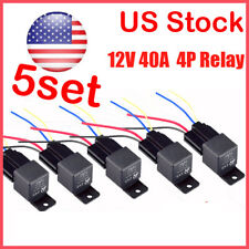 5Pack 12V 30A Fuse Relay Switch Harness Set SPST 4Pin 14 AWG Hot Wires US Stock
