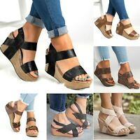 Womens Wedge High Heel Sandals Ladies Open Toe Chunky Ankle Strap Shoes Size 8 9