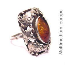Silber Ring 30er Fisch silver ring fish Bernstein amber Fischland Louis Vausch