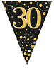 30th Birthday Party Sparkling Age 30 Black & Gold Flag Bunting Banner Decoration