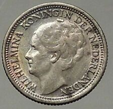 1937 Netherlands Queen WILHELMINA 10 Cents Wreath Authentic Silver Coin i57838
